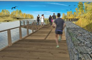Man running on dock pathway