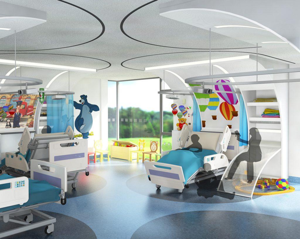 Product-bedpod-rendering-hospital-room-cruciform-ward