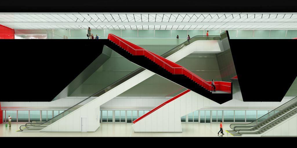 Rendering of upper and lower levels inside NTA tel aviv red line