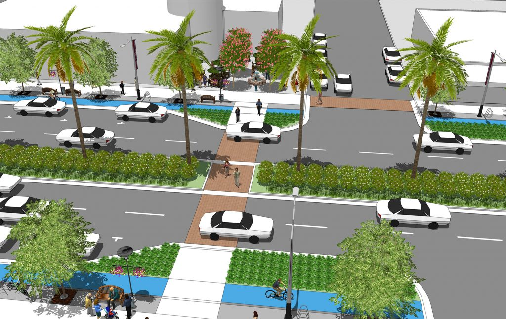 Rendering of State Route 15 Mid-City BRT Stations