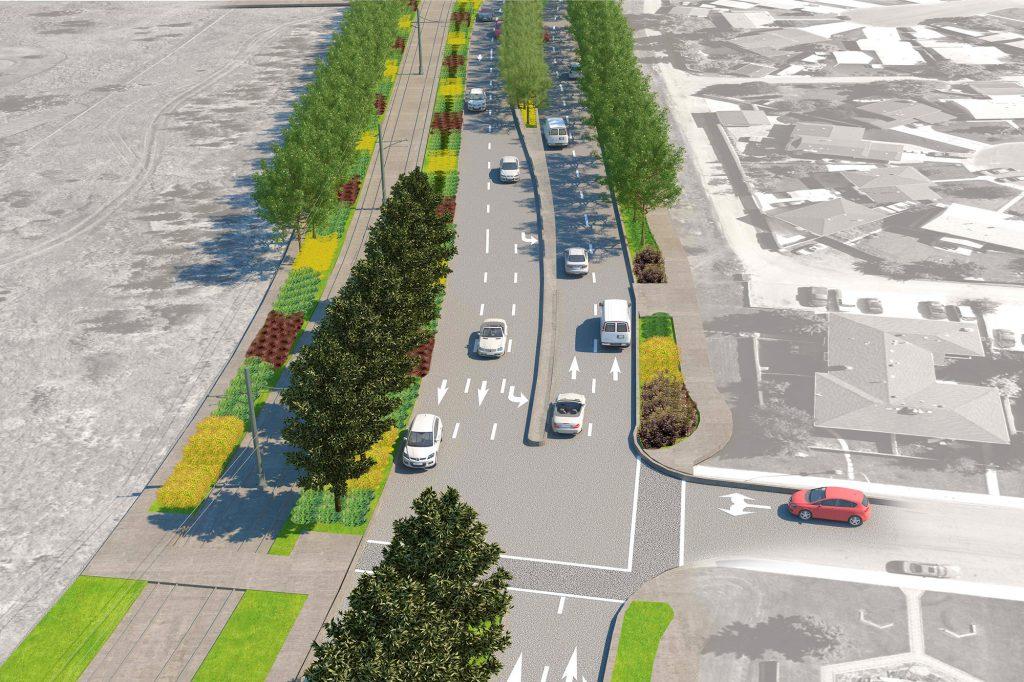 Aerial rendering of Valley Line LRT