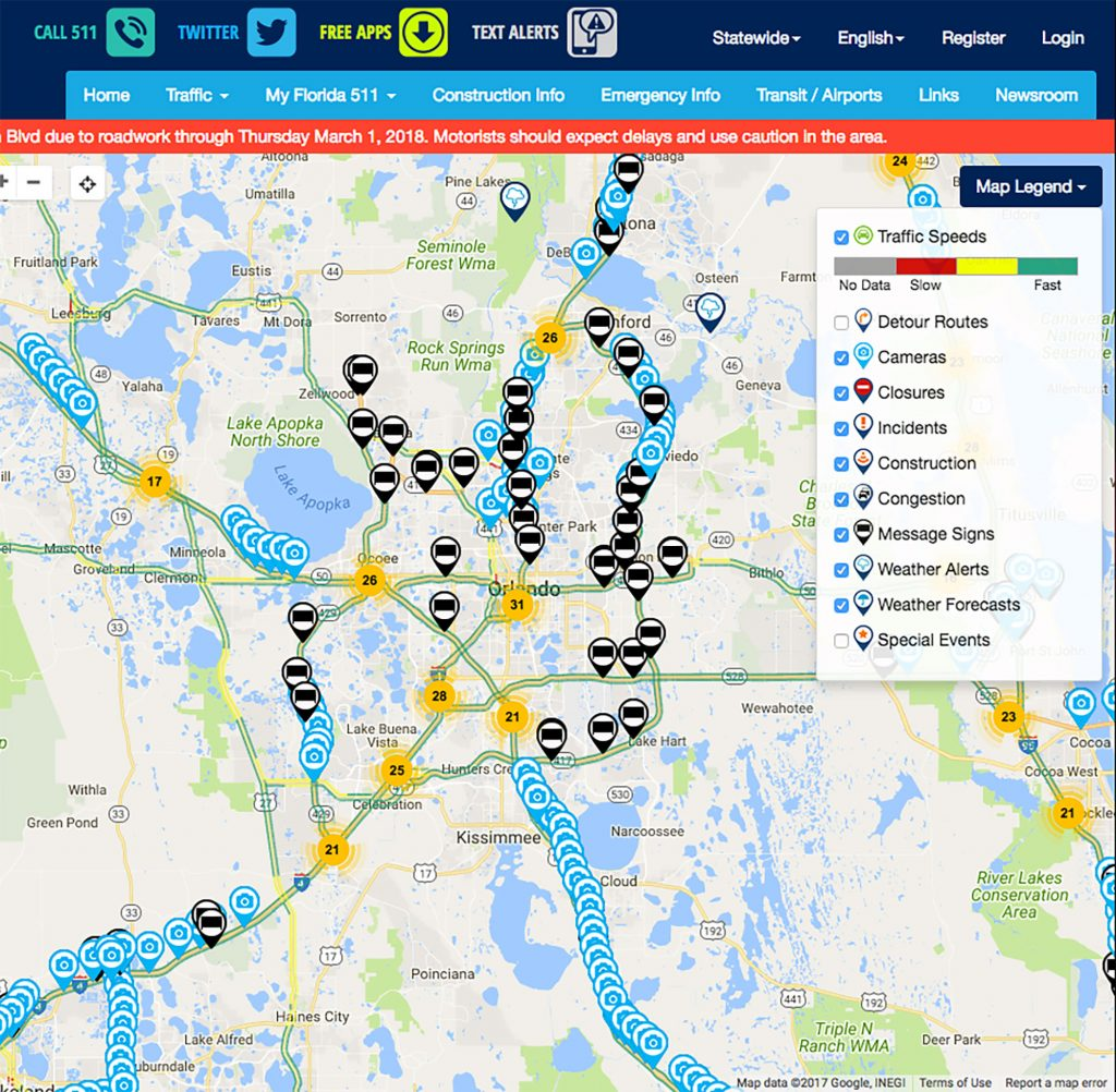 Florida 511 map. For full text, download project PDF below.