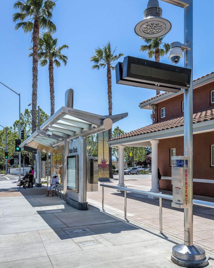 BRT stop along VTA BRT Alum Rock Santa Clara