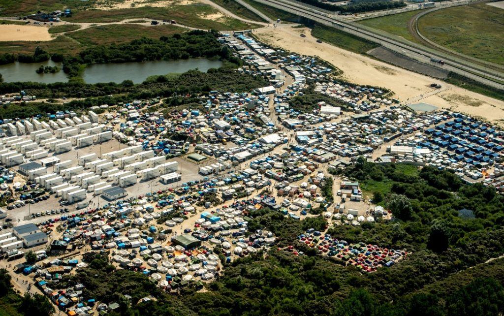 The refugee settlement in Jungle Calais