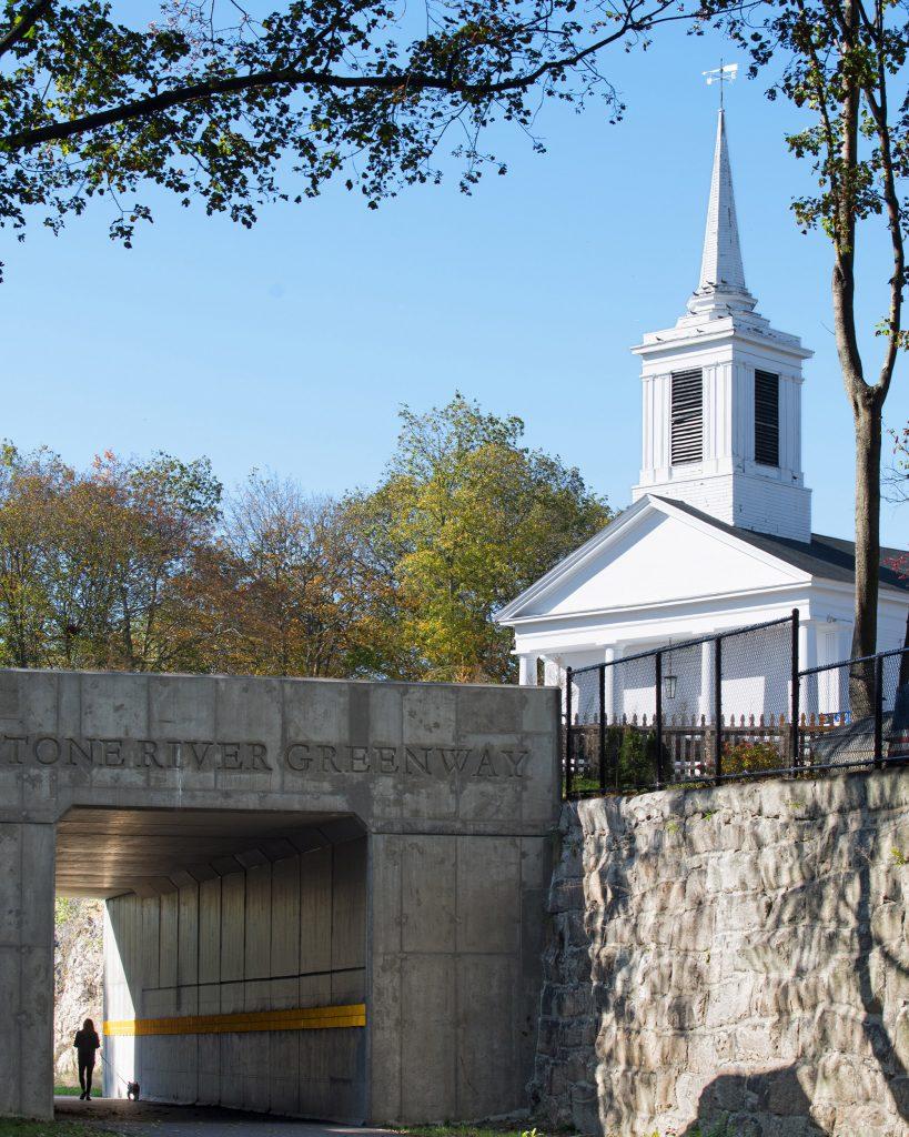 Bridge and church along the Blackstone River Valley Greenway