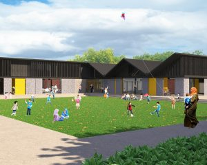 Rendering of children playing outside Grangetown Pavilion
