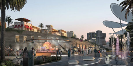 Rendering of Al Bandar plaza at sunset