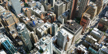 Aerial view of buildings representing urban planning