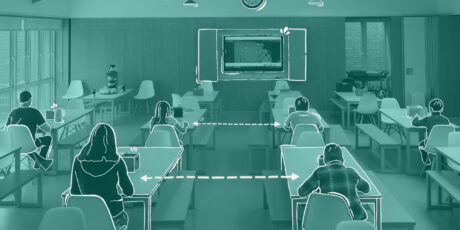 graphically designed image of students socially distanced in a classroom