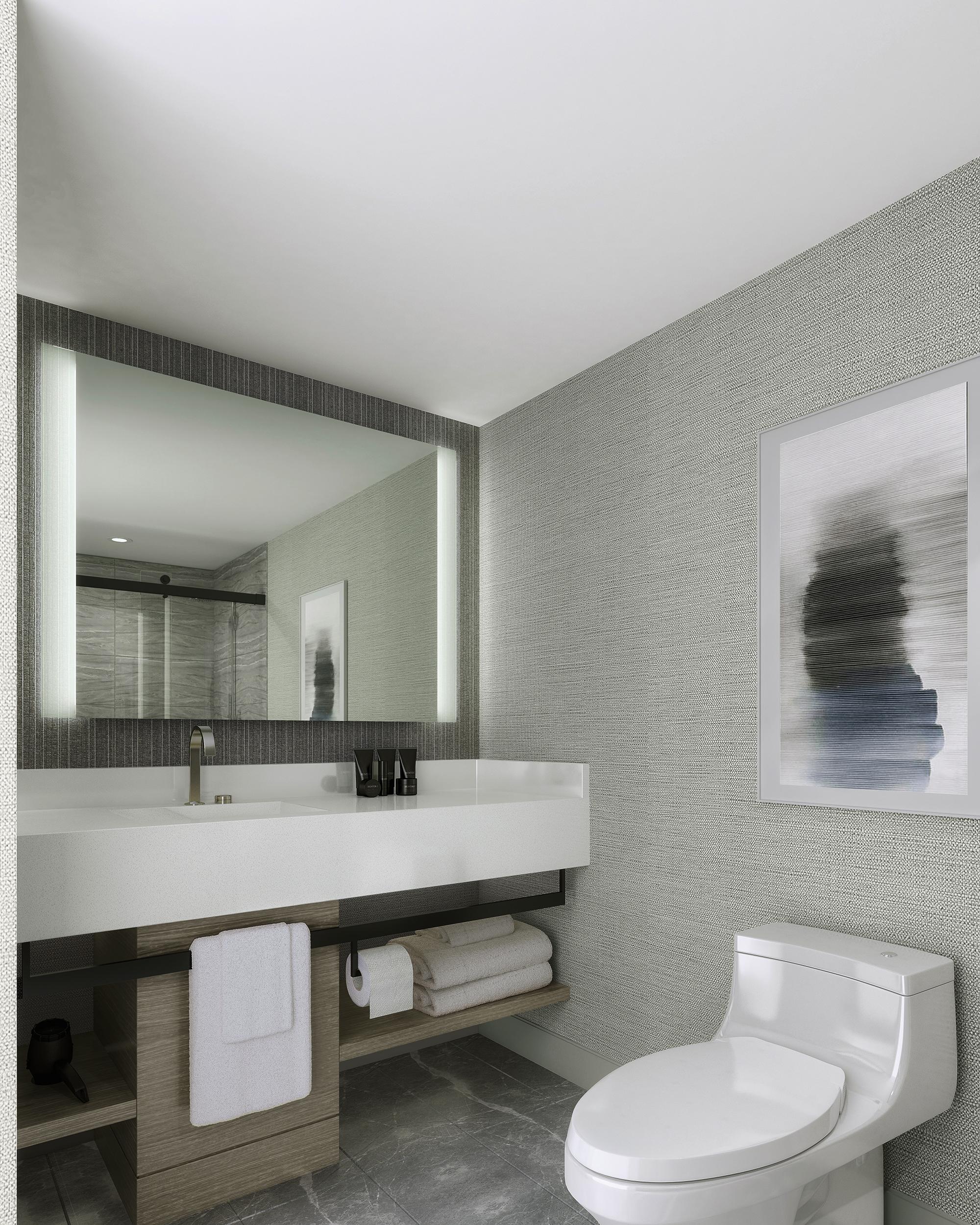 Bathroom inside Marriott Hotel in Ottawa