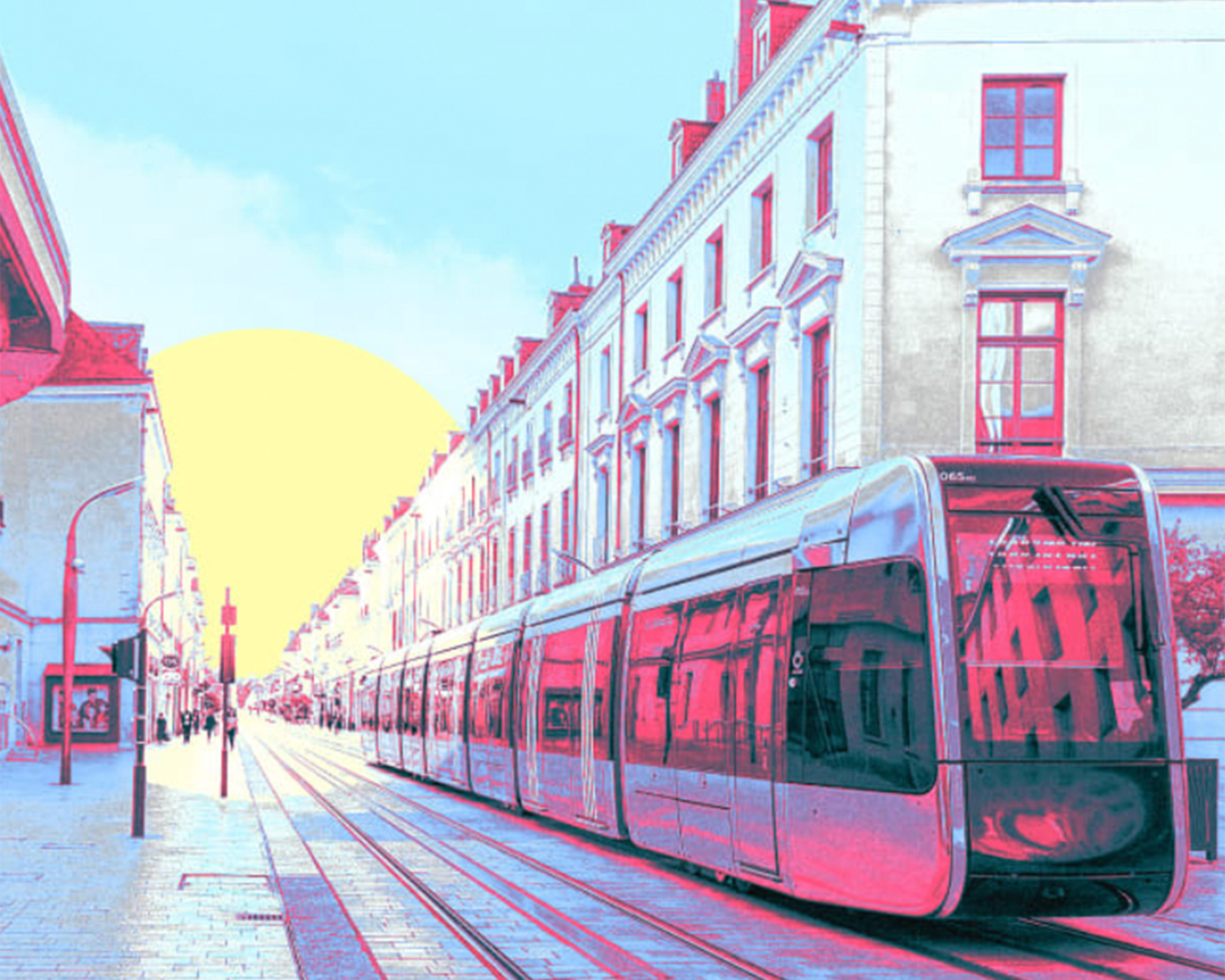 rendering of a streetcar in a city