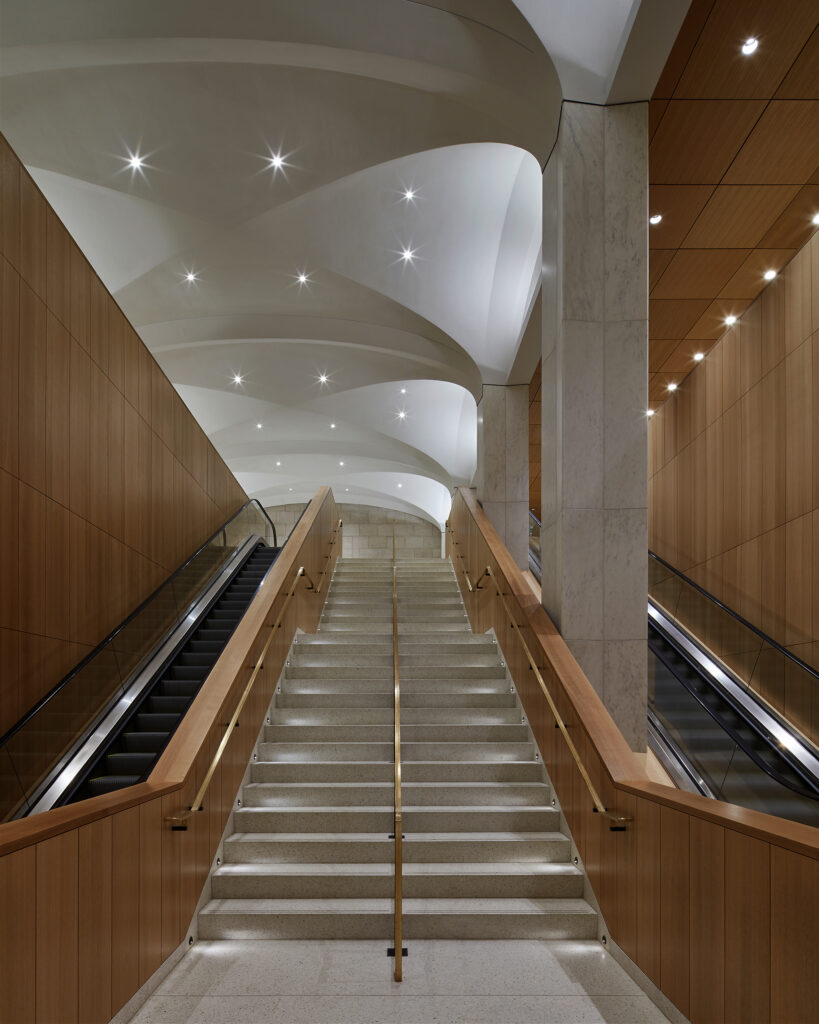 Staircase and escalators inside Visitors Welcome Centre