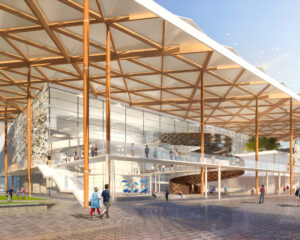 Rendering of front entrance of Boca Raton Arts and Innovation Center